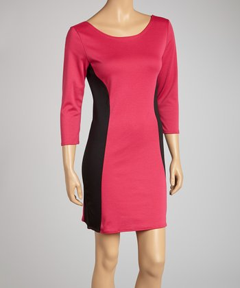Fuchsia & Black Color Block Dress