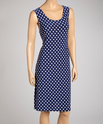 Navy & White Polka Dot Dress & Bolero Set