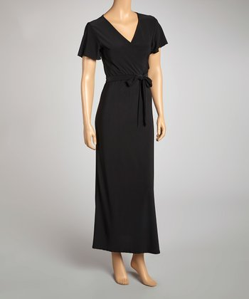 Black Surplice Maxi Dress