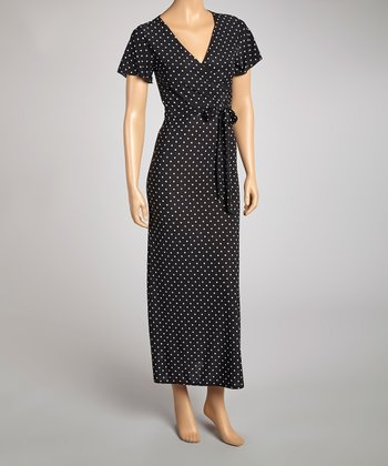 Black & White Pin Dot Faux Wrap Dress