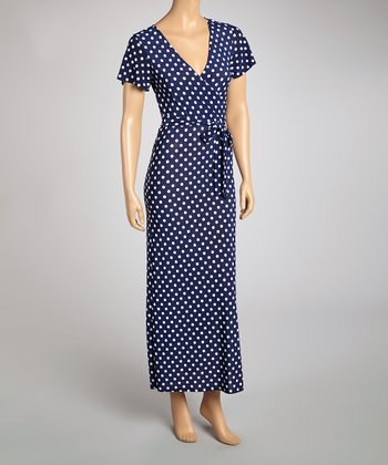 Navy & White Polka Dot Surplice Maxi Dress