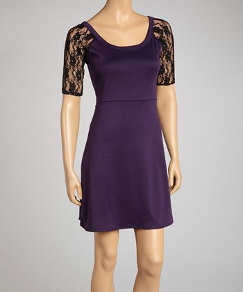 Plum Lace-Back Dress