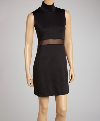 Black Sheer-Panel Mock Neck Sleeveless Dress