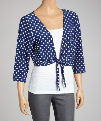 Navy & White Polka Dot Bolero