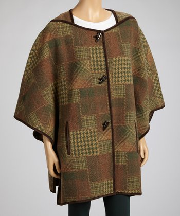 Brown Houndstooth Plaid Cape - Women