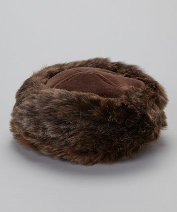 Brown Faux Fur Pillbox Hat