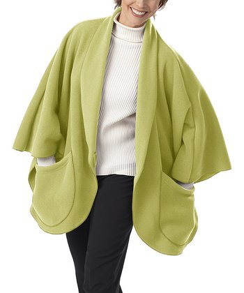 Kiwi Green Fleece Pocket Cape
