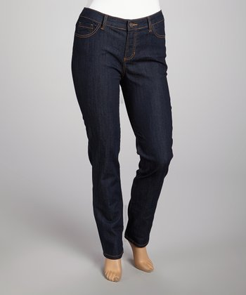 Blue Rinse & Orange Stitch Skinny Jeans - Plus