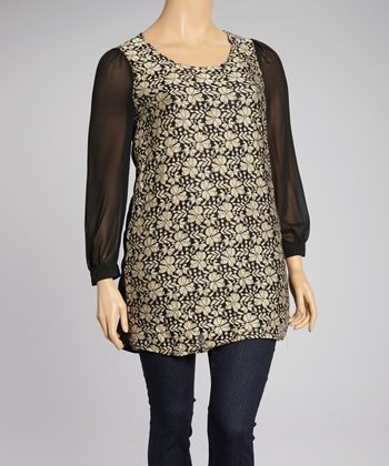 Cream & Black Lace Tunic - Plus