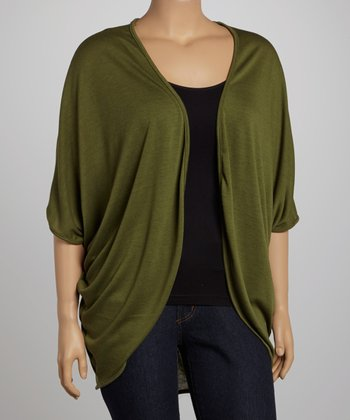 Olive Open Cardigan - Plus