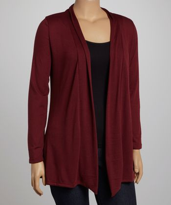 Burgundy Elbow Patches Cardigan - Plus