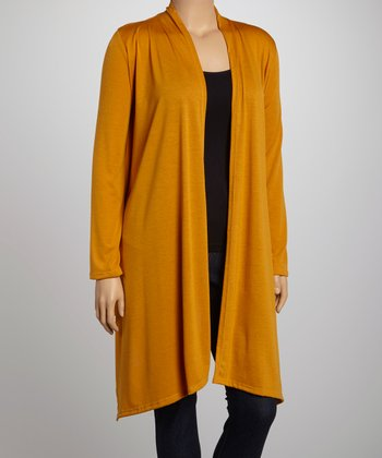 Mustard Asymmetrical Open Cardigan - Plus