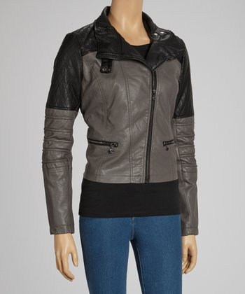 Ash Quilted Faux Leather Jacket