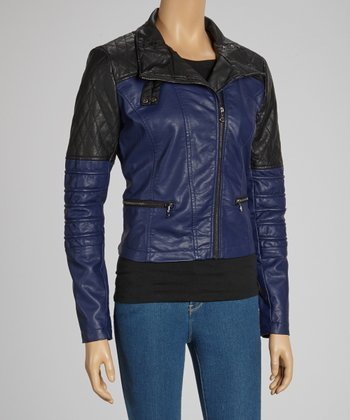 Navy Quilted Faux Leather Jacket