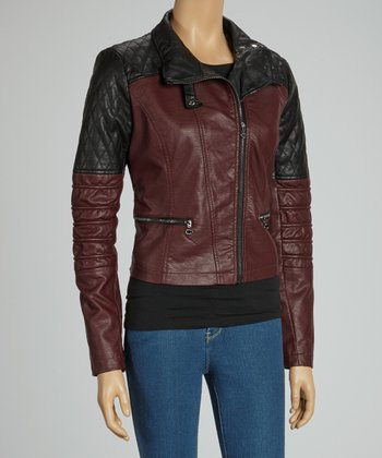 Wine Quilted Faux Leather Jacket