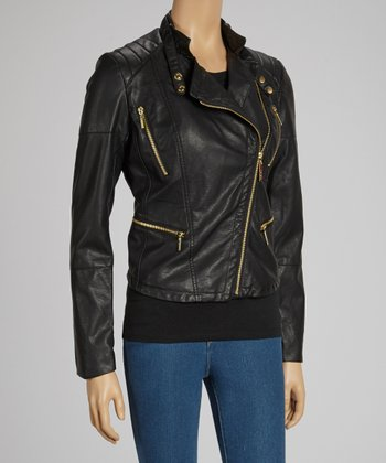 Black Asymetrical Zip Faux Leather Biker Jacket