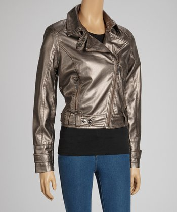 Bronze Metallic Faux Leather Biker Jacket