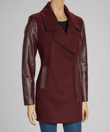 Wine Asymmetrical Zip Melton Coat