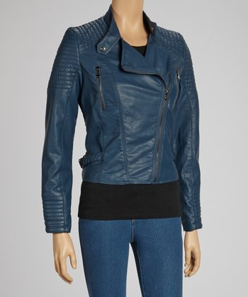 Blue Asymmetrical Zip Faux Leather Jacket