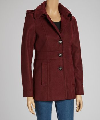 Wine Hooded Button-Up Coat