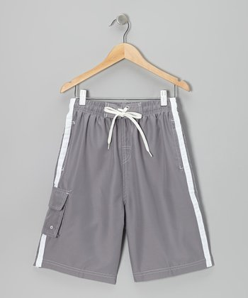 Gray Stripe Boardshorts - Boys