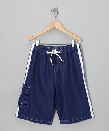 Navy Stripe Boardshorts - Boys