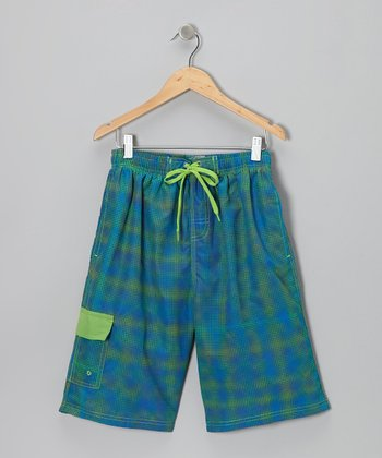 Lime & Royal Polka Dot Fuzz Boardshorts - Boys