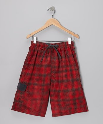 Red & Gray Polka Dot Fuzz Boardshorts - Boys