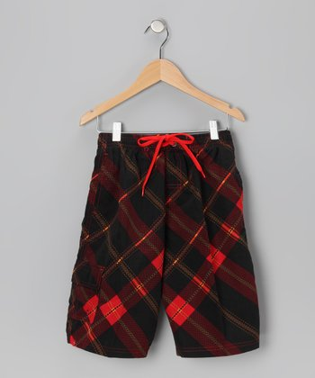 Black & Red Plaid Boardshorts - Boys