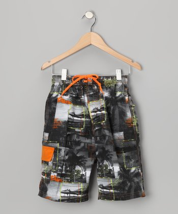 Orange Postcard Boardshorts - Boys