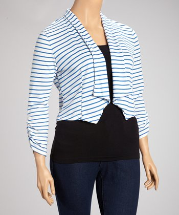 Blue & White Stripe Open Blazer - Plus