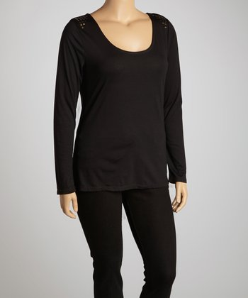 Black Studded Scoop Neck Top - Plus