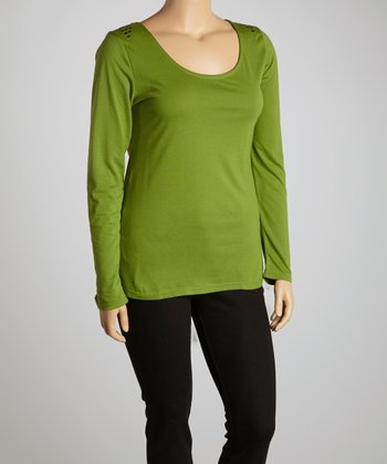 Cactus Green Studded Scoop Neck Top - Plus