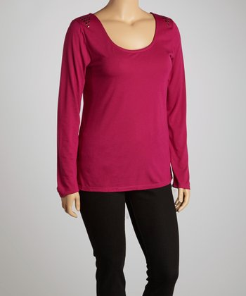 Tartan Pink Studded Scoop Neck Top - Plus