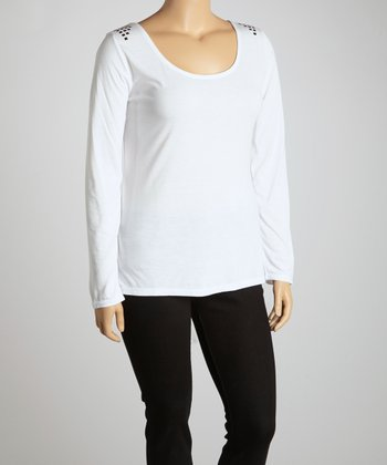 White Studded Scoop Neck Top - Plus
