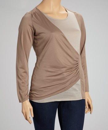 Khaki Color Block Ruched Top - Plus