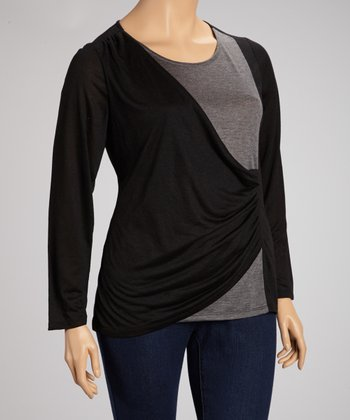 Black Color Block Ruched Top - Plus