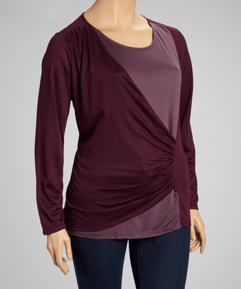 Maroon Color Block Ruched Top - Plus