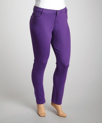 Purple Twill Skinny Pants - Plus