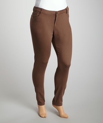 Brown Twill Skinny Pants - Plus