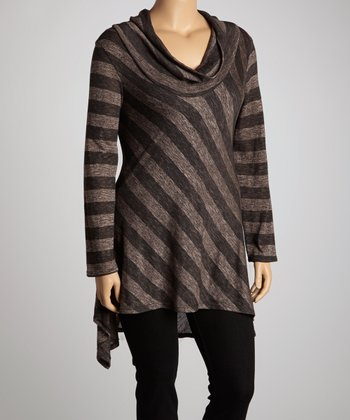 Brown & Black Stripe Cowl Neck Sidetail Dress - Plus