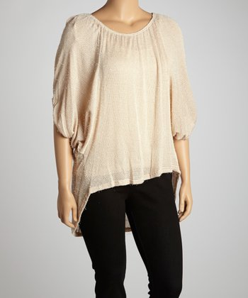 Beige Cape-Sleeve Hi-Low Tunic - Plus
