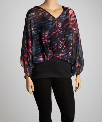 Black & Magenta Abstract Cape-Sleeve Tunic - Plus