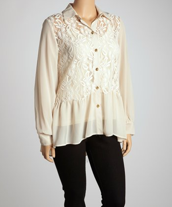 Beige Lace Chiffon Hi-Low Button-Up - Plus