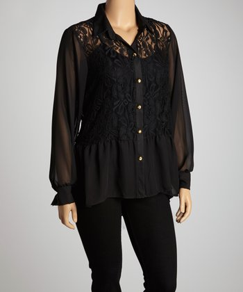 Black Lace Chiffon Hi-Low Button-Up - Plus