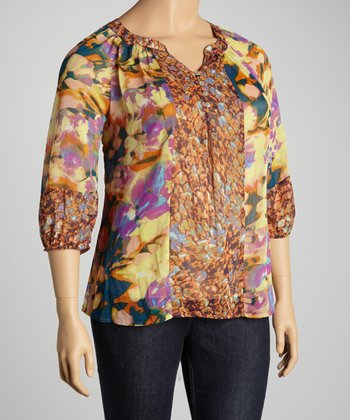 Yellow & Fuchsia Abstract Floral Top - Plus