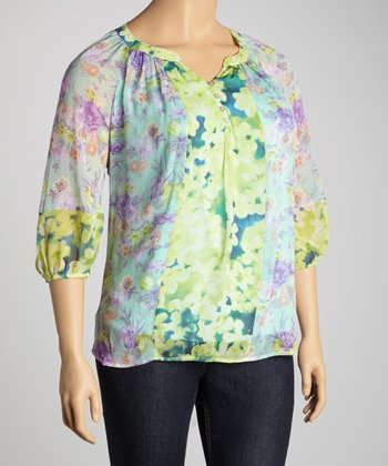 Lime & Purple Abstract Floral Top - Plus