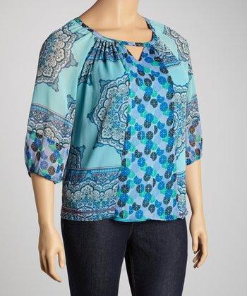 Aqua Arabesque Peasant Top - Plus