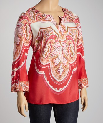 Red Arabesque Tunic - Plus