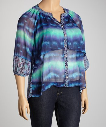 Blue & Green Tie-Dye Floral Cape-Sleeve Button-Up Top - Plus